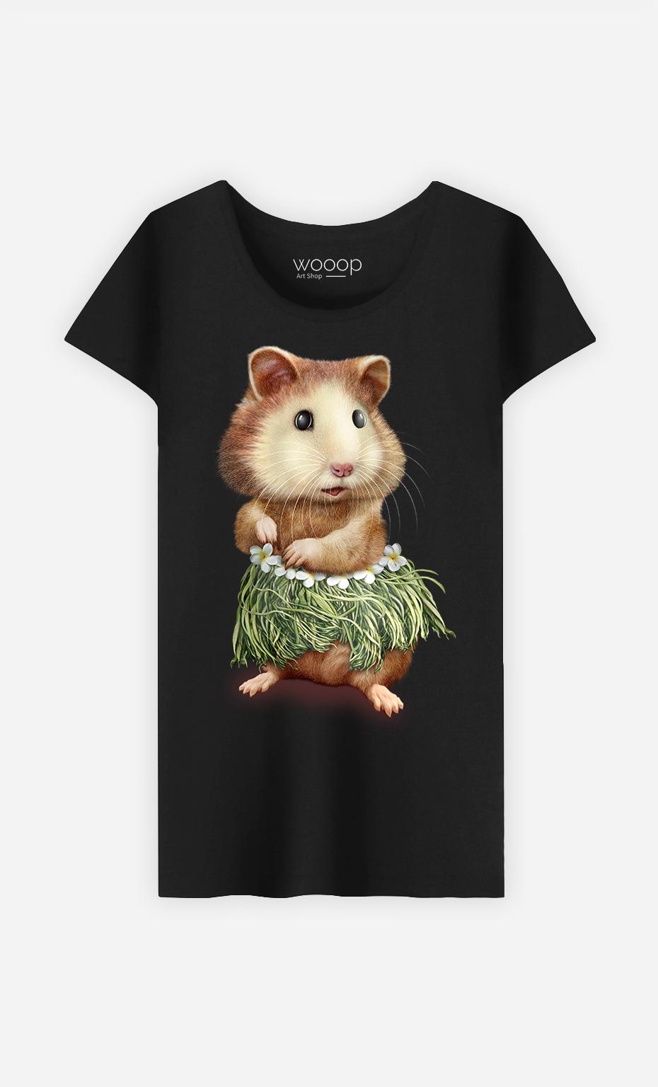 T-Shirt Noir Femme Hamster hula