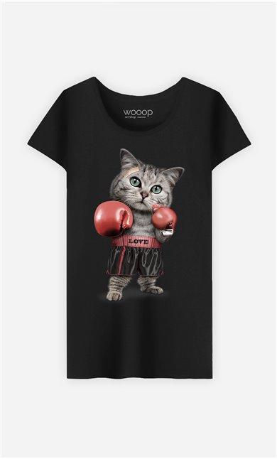 T-Shirt Noir Femme Boxing cat