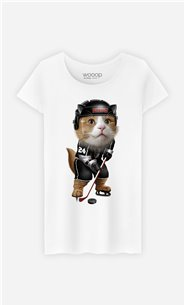 T-Shirt Blanc Femme Team hockey cat