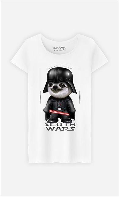 T-Shirt Blanc Femme Sloth Wars