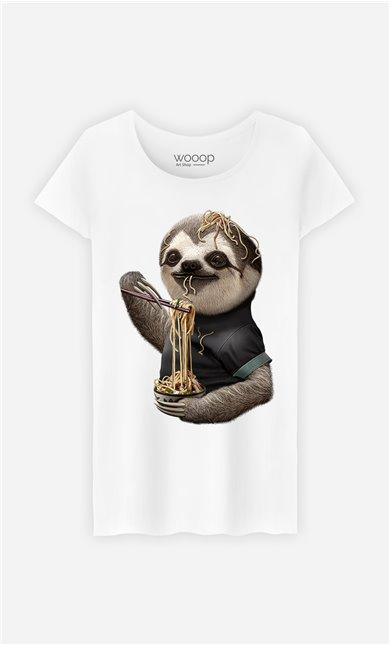 T-Shirt Blanc Femme Sloth loves noodles