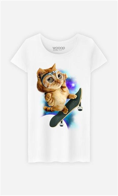T-Shirt Blanc Femme Skateboard cat