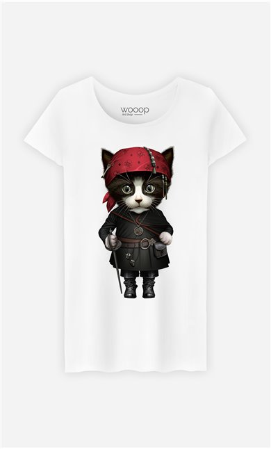 T-Shirt Blanc Femme Pirate cat