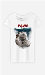 T-Shirt Blanc Femme Paws