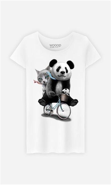 T-Shirt Blanc Femme Panda bicycle
