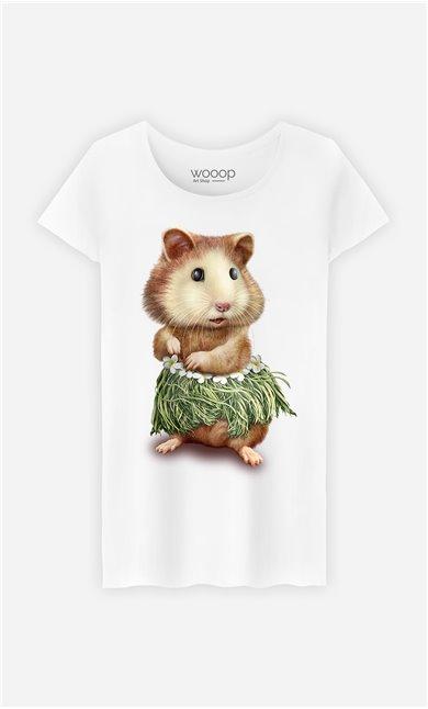 T-Shirt Blanc Femme Hamster hula