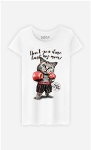 T-Shirt Blanc Femme Don't you dare hurt my mom