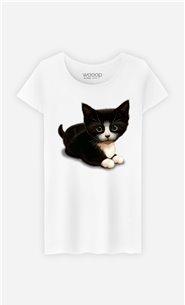 T-Shirt Blanc Femme Cute cat