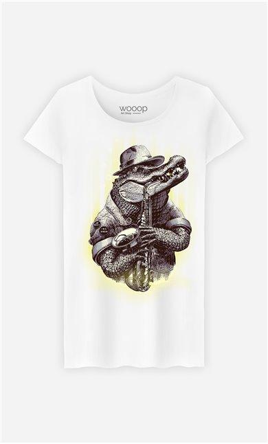 T-Shirt Blanc Femme Croc rocker