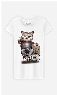 T-Shirt Blanc Femme Cat selling ice cream