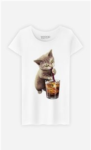 T-Shirt Blanc Femme Cat loves soft drink