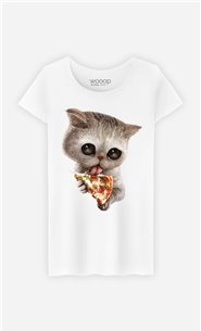 T-Shirt Blanc Femme Cat loves pizza