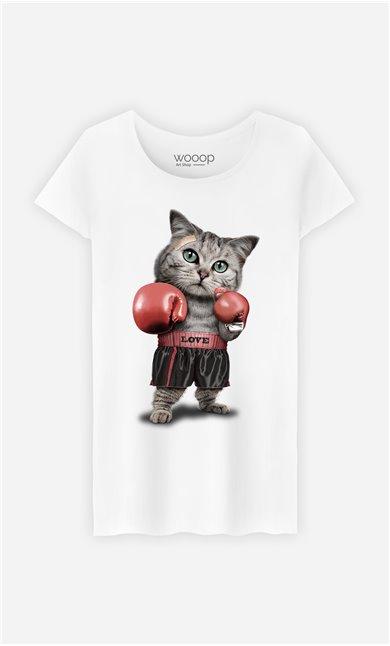 T-Shirt Blanc Femme Boxing cat