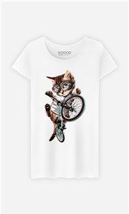 T-Shirt Blanc Femme BMX cat
