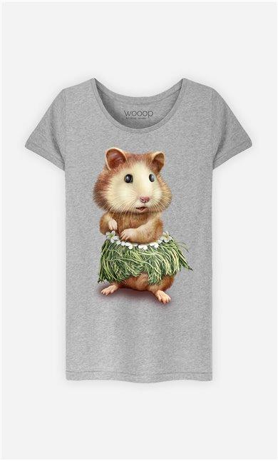T-Shirt Gris Femme Hamster hula