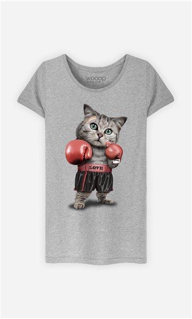 T-Shirt Gris Femme Boxing cat