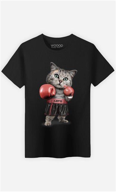 T-Shirt Noir Homme Boxing cat