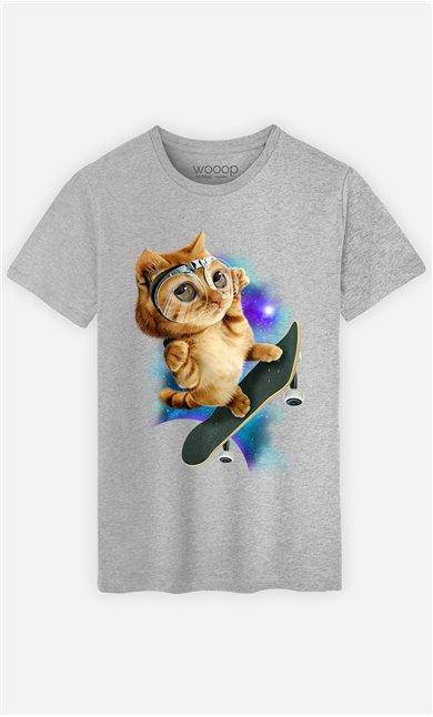 T-Shirt Gris Homme Skateboard cat