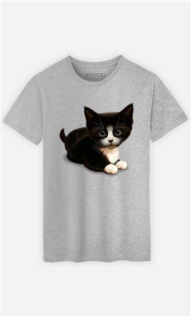T-Shirt Gris Homme Cute cat
