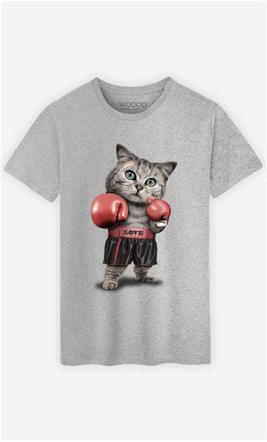 T-Shirt Gris Homme Boxing cat
