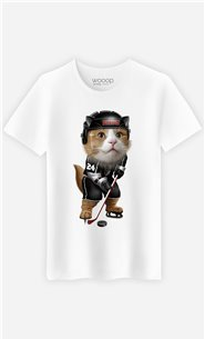 T-Shirt Blanc Homme Team hockey cat