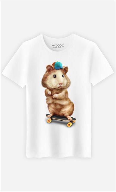T-Shirt Blanc Homme Skateboard hamster