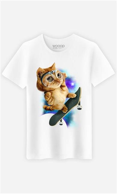 T-Shirt Blanc Homme Skateboard cat