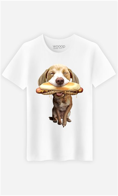T-Shirt Blanc Homme Hotdog