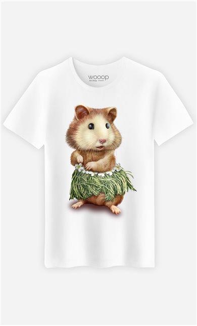T-Shirt Blanc Homme Hamster hula