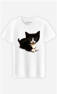 T-Shirt Blanc Homme Cute cat