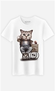 T-Shirt Blanc Homme Cat selling ice cream