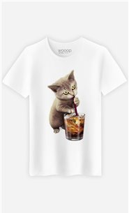 T-Shirt Blanc Homme Cat loves soft drink