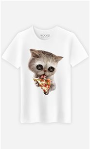 T-Shirt Blanc Homme Cat loves pizza
