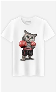 T-Shirt Blanc Homme Boxing cat