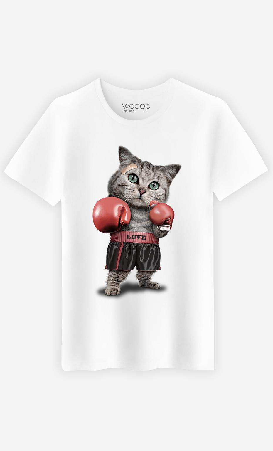 T-Shirt Blanc Homme Boxing cat