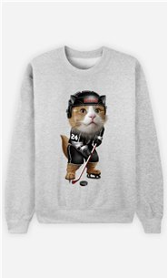 Sweat Gris Femme Team hockey cat