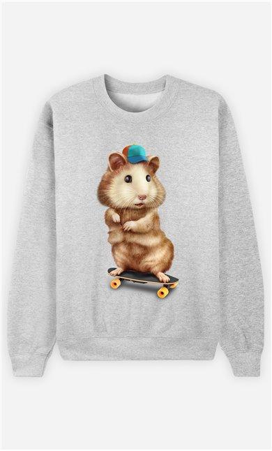 Sweat Gris Femme Skateboard hamster