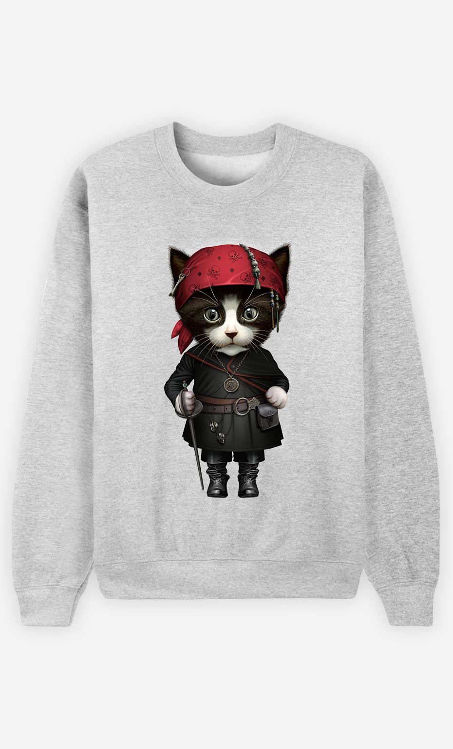 Sweat Gris Femme Pirate cat
