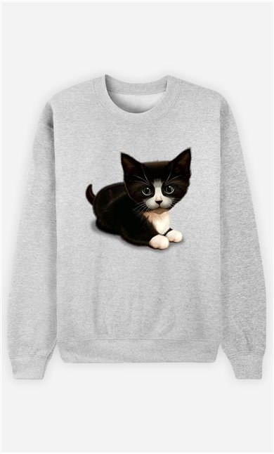 Sweat Gris Femme Cute cat