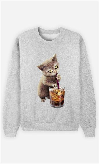 Sweat Gris Femme Cat loves soft drink