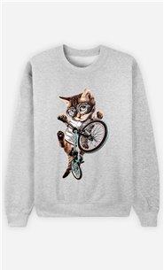 Sweat Gris Femme BMX cat