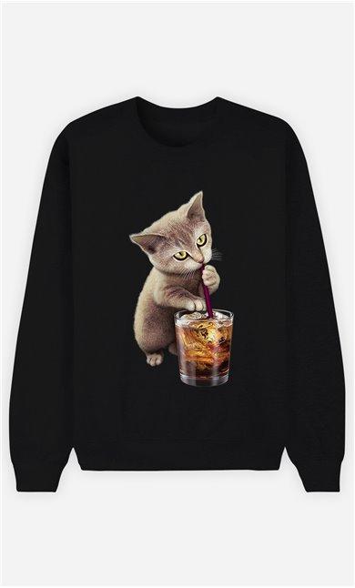 Sweat Noir Femme Cat loves soft drink