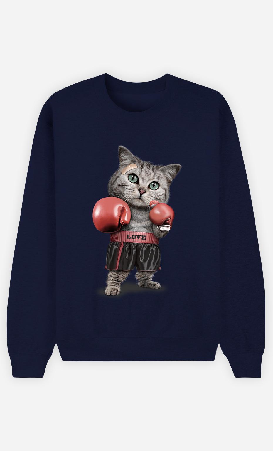 Sweat Bleu Femme Boxing cat