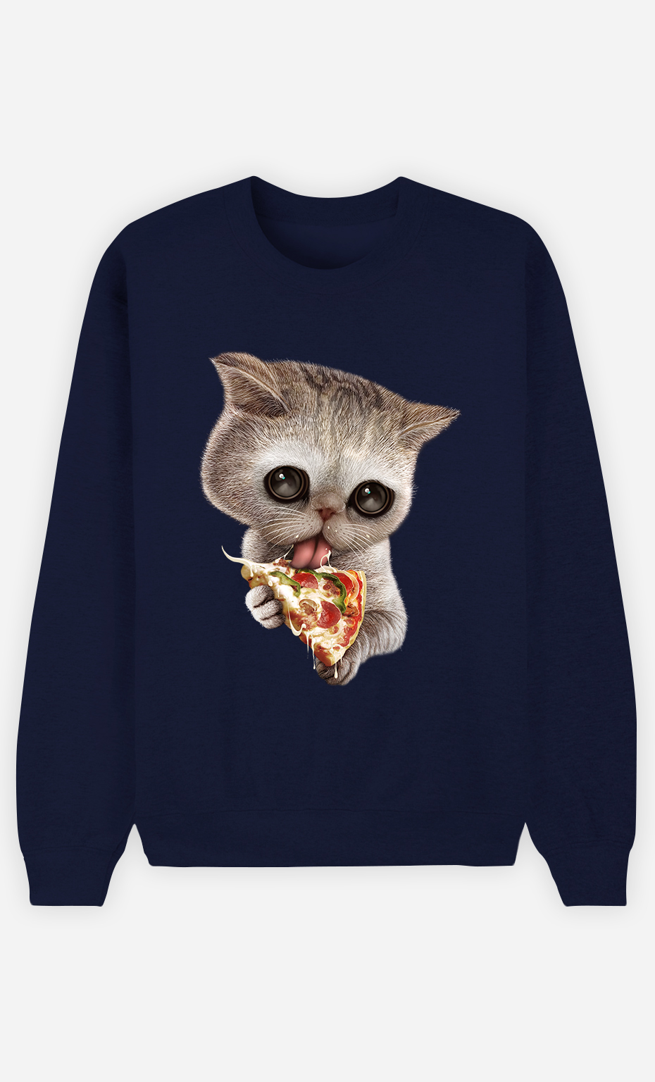 Sweat Bleu Femme Cat loves pizza
