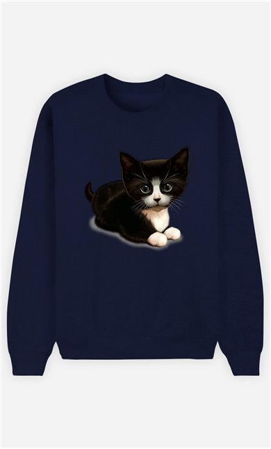 Sweat Bleu Femme Cute cat