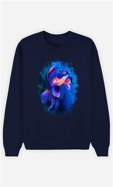 Sweat Bleu Femme Goldfish