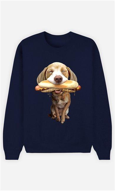 Sweat Bleu Femme Hotdog