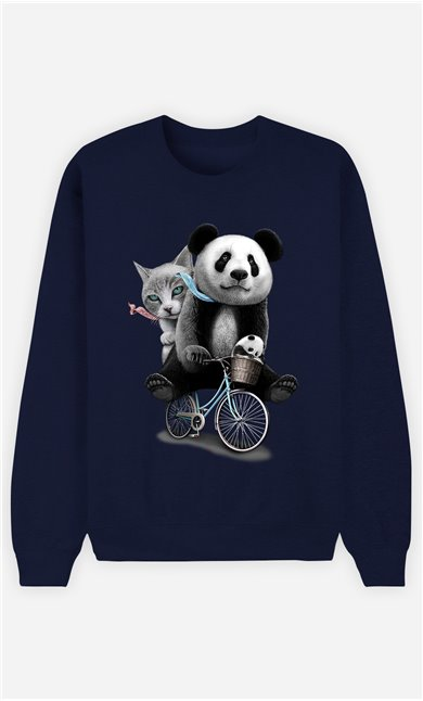Sweat Bleu Femme Panda bicycle