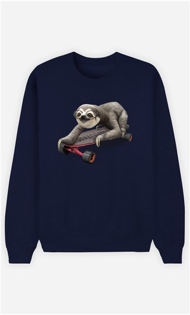 Sweat Bleu Femme Skateboard sloth