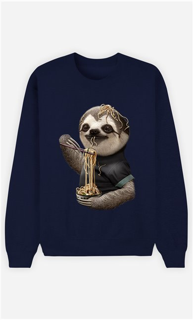 Sweat Bleu Femme Sloth loves noodles